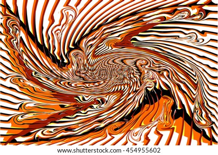 Abstract Black, White and Orange Curved Marble Pattern. The Distortion of Space. Striped Structural Texture. Raster 3d Illustration - stock photo