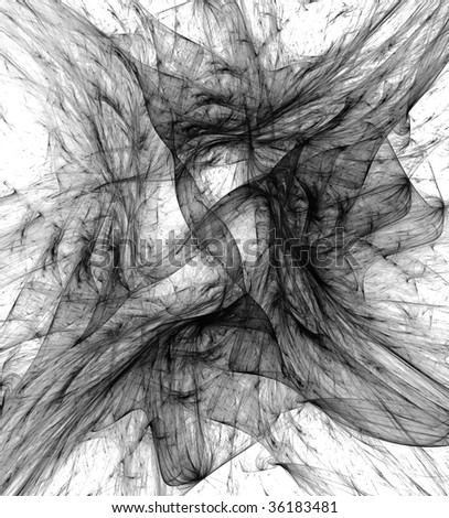 Abstract black & white fractal - stock photo