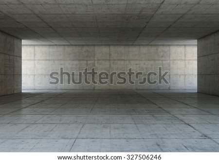 Abstract blank space of empty room with concrete walls. Modern concrete background.
