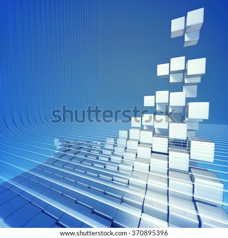 Abstract block of cubes - stock photo