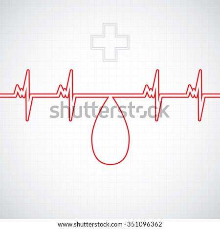 Abstract blood donor background creative heart beat illustration - stock photo