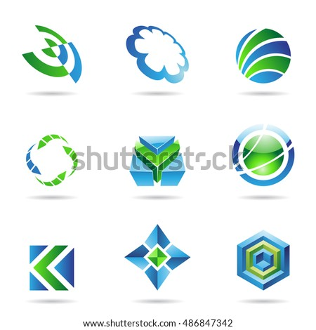 Abstract blue and green Icon Set isolated on a white background
