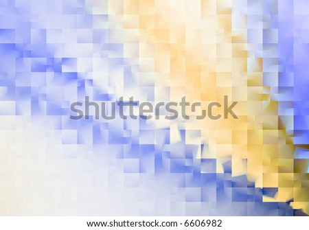 Abstract blue and orange tile background with light effect - stock photo