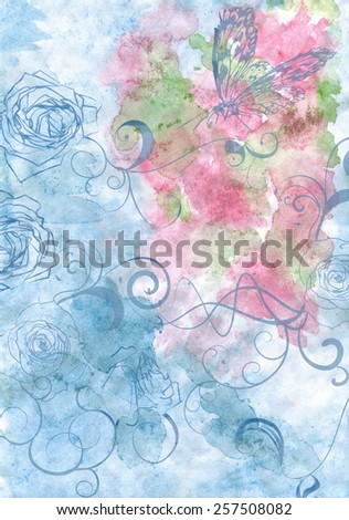 abstract blue and pink watercolor with roses - stock photo
