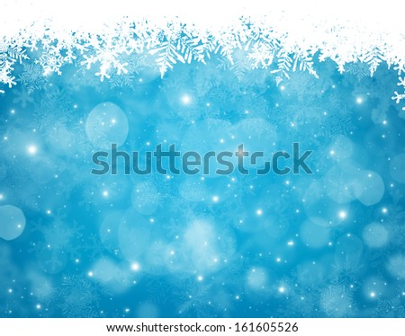 Abstract blue and white christmas background with snowflakes - stock photo