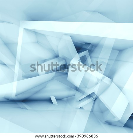 Abstract blue and white square background with chaotic cubic structures, 3d illustration, multi exposure effect - stock photo