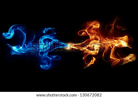 Abstract blue and yellow flame background - stock photo