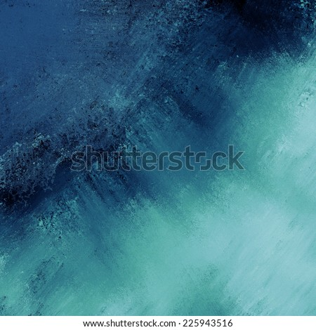 abstract blue background dark stripe of messy faded black grunge paint on dark blue washed out color border corner - stock photo