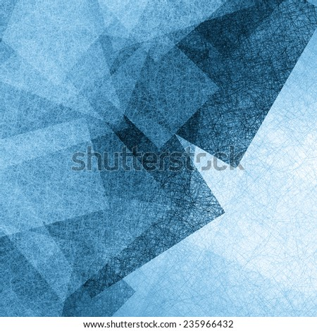 abstract blue background pale stripes of light messy blue grunge paint brush stroke lines with dark blue color borders in corners of squares - stock photo