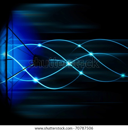 abstract  blue background - satellite transmission data - stock photo