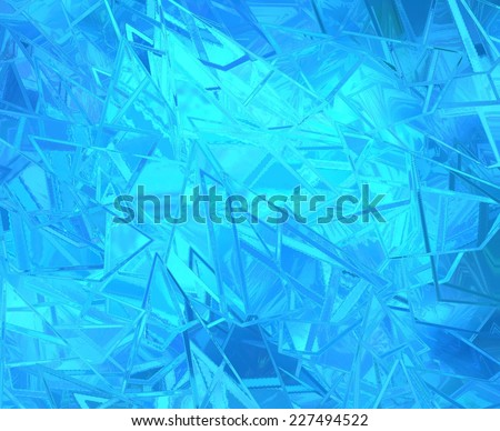abstract blue background shattered glass on bright beautiful background, texture has sharp jagged pieces of broken glass illustration - stock photo
