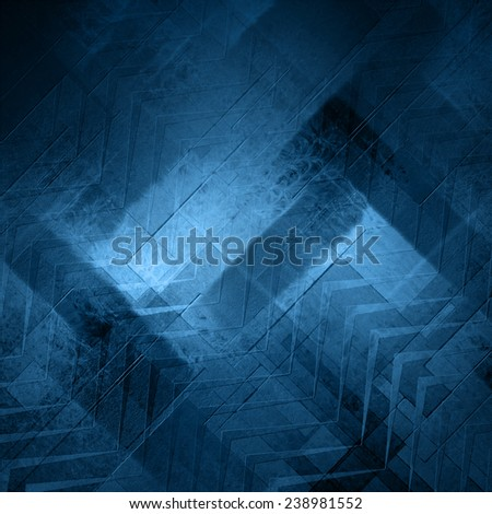 Abstract blue background, stripes and abstract diagonal shapes in random pattern, chevron or zig zag style stripes design element - stock photo