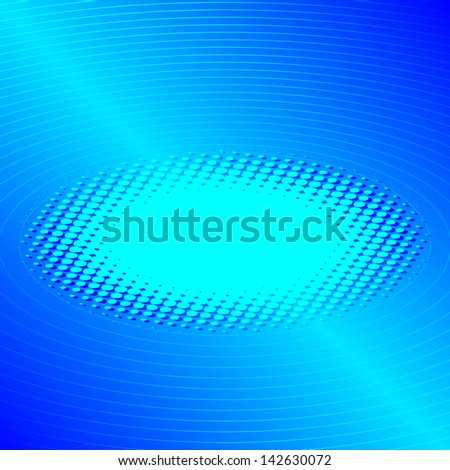 Abstract blue background with circles and dots - stock photo