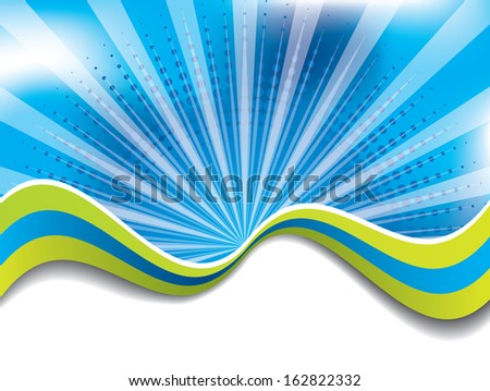 Abstract blue background with green colored waves  - stock photo