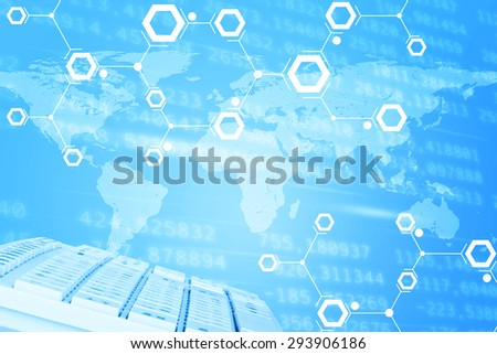 Abstract blue background with keyboard and world map