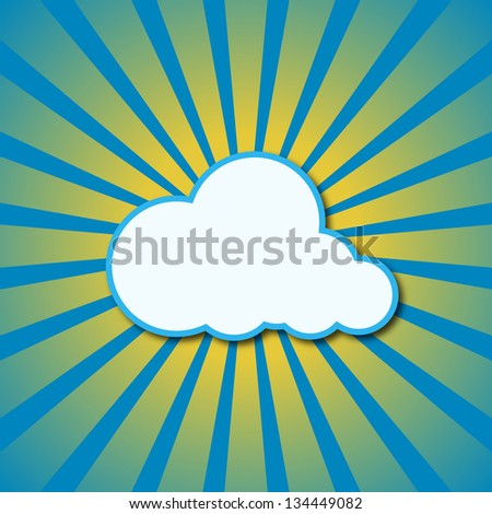 Abstract blue background with sun rays and cloud. Raster version. - stock photo