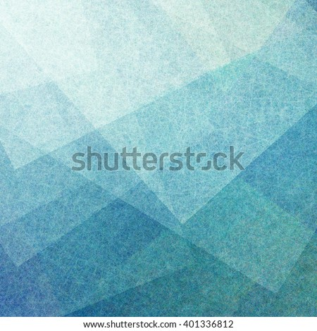 abstract blue background with transparent white parchment squares with linen style texture or brush strokes layered in random pattern with geometric angles and shapes - stock photo