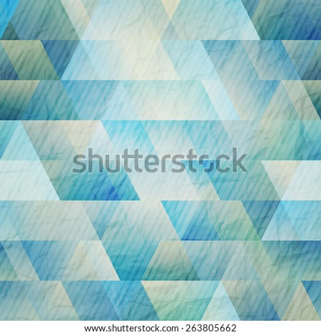 abstract blue background with triangles and stripes on paper texture - stock photo