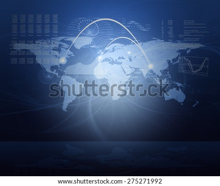 Abstract blue background with world map and graphical charts