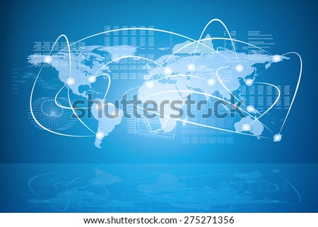 Abstract blue background with world map, graphical charts, connected points and reflection