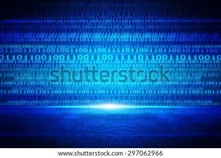 Abstract blue binary figure code 3D line background of information technologies - stock photo