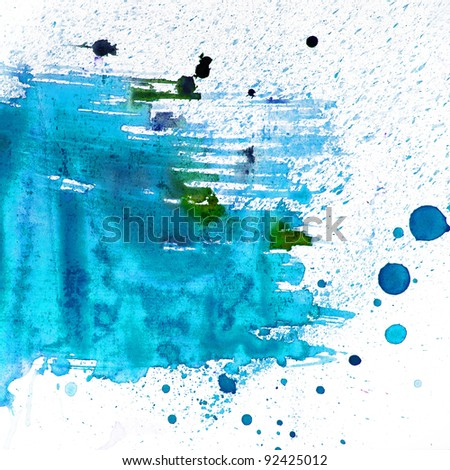 abstract blue blot watercolor texture patch on white - stock photo