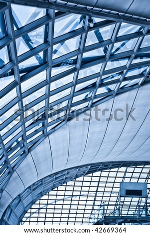 Abstract blue ceiling interior background, vertical composition