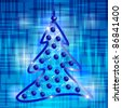 Abstract blue Christmas background with decorative tree - stock photo
