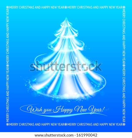 Abstract blue christmas tree background.  illustration.