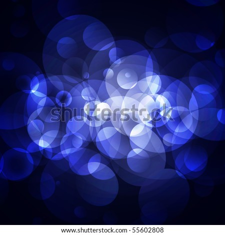 abstract blue circles on a dark background - stock photo