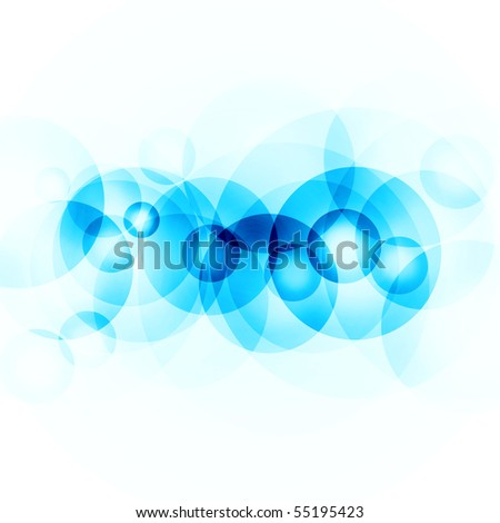 abstract blue circles on a white background - stock photo