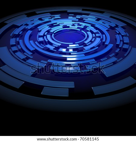Abstract blue circular structure - stock photo