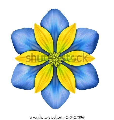 abstract blue clematis flower illustration isolated on white background, single design element - stock photo