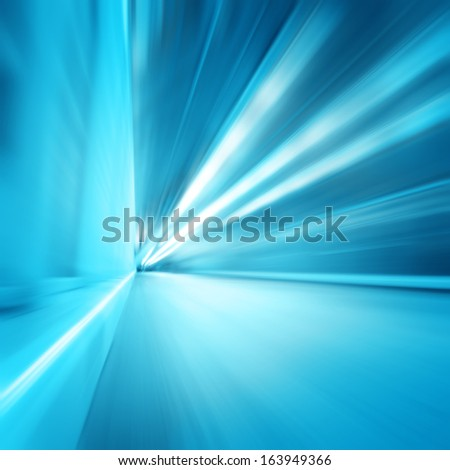 Abstract blue corridor with motion blur. - stock photo