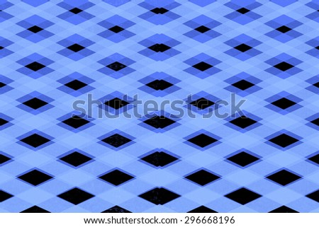 Abstract blue criss cross squares pattern on a black background - stock photo