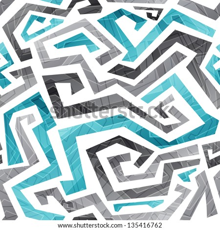 abstract blue curved lines seamless pattern (raster version) - stock photo