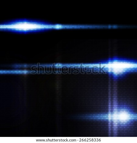 Abstract blue digital background, the flash on black background - stock photo