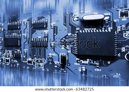 Abstract blue electronic circuit board background