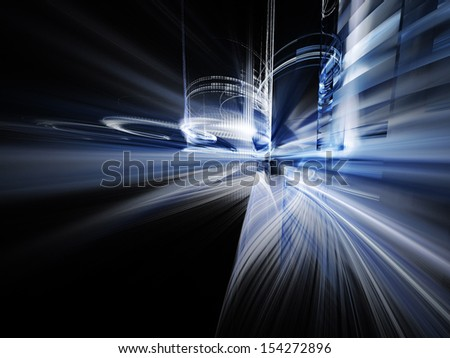 Abstract blue element over black background