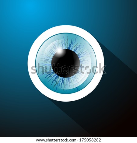Abstract Blue Eye on Dark Blue Background - Also Available in Vector Version  - stock photo