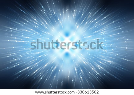 Abstract blue fractal composition. Magic explosion star with particles
