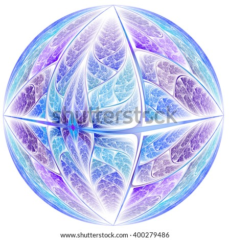 Abstract blue fractal planet, digital artwork for creative graphic design - stock photo