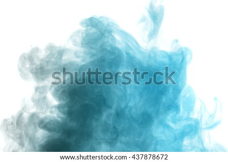 Abstract blue gray water vapor on a white background. Texture. Design elements. Abstract art. Steam the humidifier. Macro shot. - stock photo