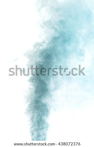 Abstract blue gray water vapor on a white background. Texture. Design elements. Abstract art. Steam the humidifier. Macro shot.