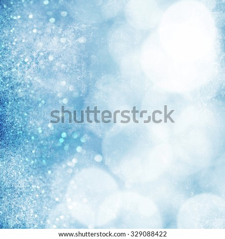 Abstract blue grunge bokeh background - stock photo