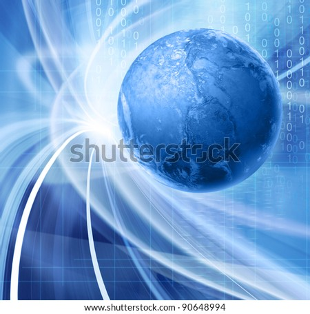 Abstract blue illustration for global communications technology with images of planet Earth and floating binary code - stock photo