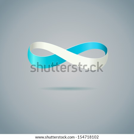 Abstract blue Infinity symbol on gray background.   - stock photo