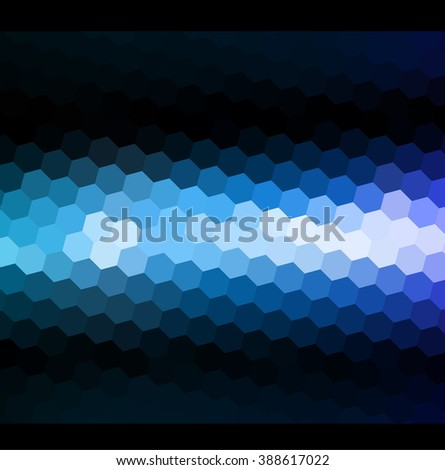 Abstract blue light. Blue neon light. Blue shiny light background. Dark background with blue light. Magic light. Mosaic blue light background - stock photo