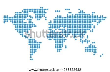 abstract blue map of world with circles