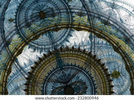 Abstract blue mechanical background - stock photo